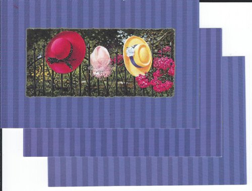 3 POSTCARD COLLECTION BY HARLEQUIN (1999)- 3 LADIES HATS ON A BLACK BRASS FENCE WITH FLOWERS & TREES BACKGROUND