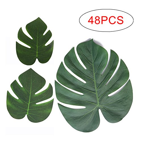 Mandy's 48 pcs Tropical palm Leaves 3 sizes for different theme Party decoration Luau/Hawaiian/jungle party baby shower -