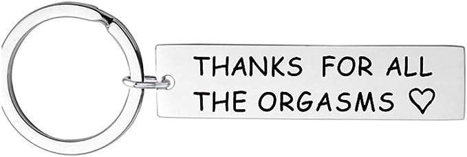 Amody Porte-cl/és en Acier Inoxydable Argent Thanks for All The Orgasms /Étiquette de Chien Rond pour Femmes Hommes Porte-cl/és Cadeaux