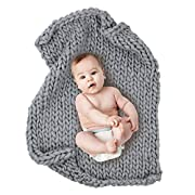 Play Tailor 23.6 x31.5  Chunky Knit Blanket for Newborn Baby Photography, Multi Use Chunky Yarn Chair Pad and Sofa Cushion (Grey)