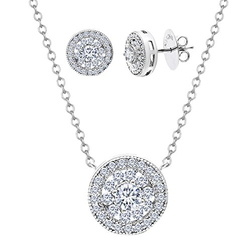 [18K White Gold Over Sterling Silver Cubic Zirconia Flower Pendant Necklace & Stud Earring Set] (Dancing With The Stars Costumes Designs)
