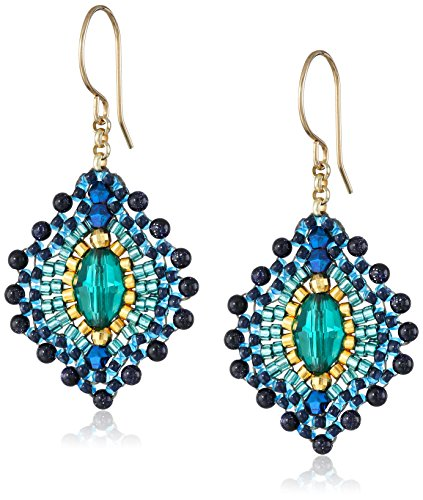 Miguel Ases Blue Gold Stone Lotus Earrings by Miguel Ases (Image #1)