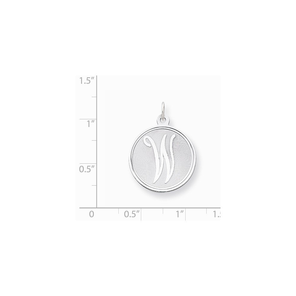 925 Sterling Silver Brocaded Initial W Charm and Pendant