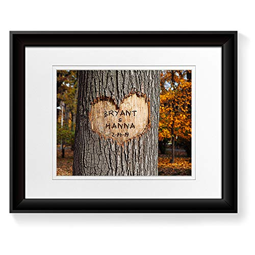 (A&T ARTWORK Love Grows - Personalized Picture Prints Gift Couple's Names and The Special Date Gift for Anniversary, Valentine's Day,Wedding. 14x11 inches& D-Mats UNFRAMED)