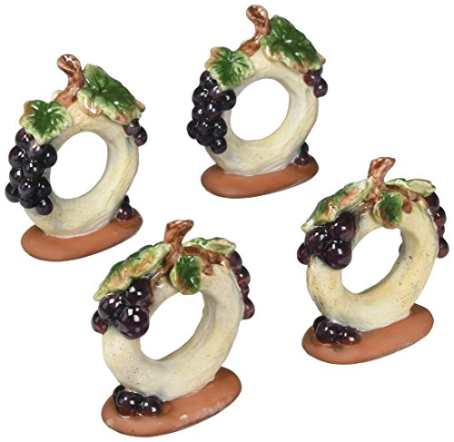 ATD 32304 Set of 4 Grape Themed Napkin Ring Holders, 3.5
