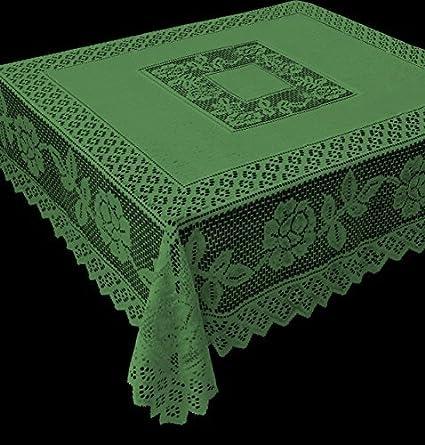 Tablecloth Grega Design Brazilian Lace 59x59 Inches Green Color 100 Percent Polyester by Interlar