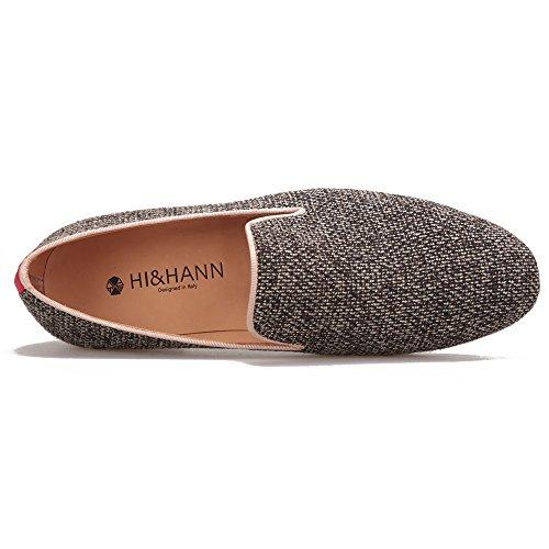 Hi & Hann Scarpe Da Uomo In Cotone Di Alta Qualità Fatte A Mano Con Mocassino Slip-on In Vera Pelle