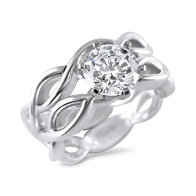 63906034f Solid 14K White Gold Swarovski CZ Cubic Zirconia Wedding Set 6 Prong 1  Carat Round (