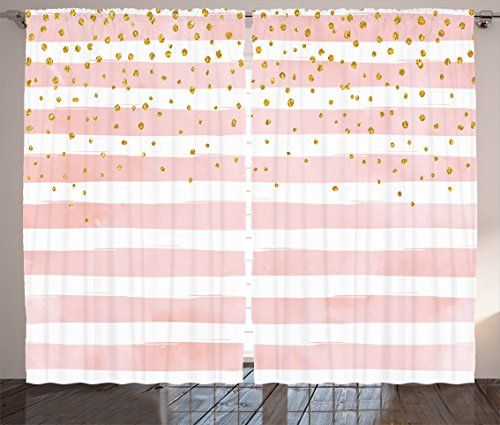 - Modern Curtains by Ambesonne, Striped Pattern in Pastel Colors with Vivid Colored Dots Shabby Art Print, Living Room Bedroom Window Drapes 2 Panel Set, 108 X 84 Inches, Light Pink White Yellow