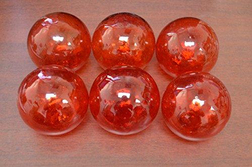"Shells&Co 6 Pcs Red Reproduction Glass Float Fishing Buoy Ball 4"""