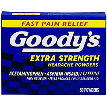 Goody's Extra Strength Headache Powders - Acetaminophen, Asprin, & Caffeine Quickly Relieve Pain Due to Headaches, Body Aches, and Fever - 50 Powders