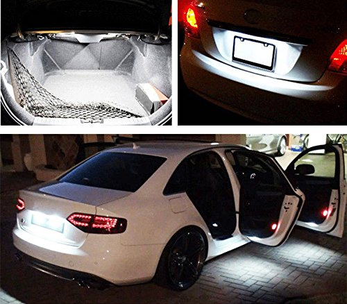 XT AUTO 10pcs Super Bright BA9 BA9s White 5-LED Bulb for RV Car Tail Backup Corner Side Marker Light