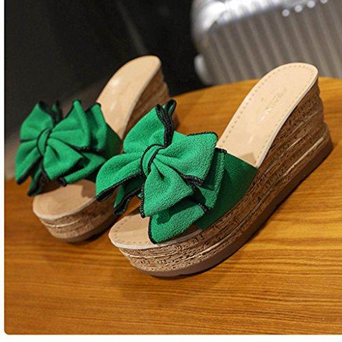 Forme Sandales Coin Chaussures en Mode Vert de Slide air d'été Plate Femmes de Fleurs Dames Plein q0O5xwtqf