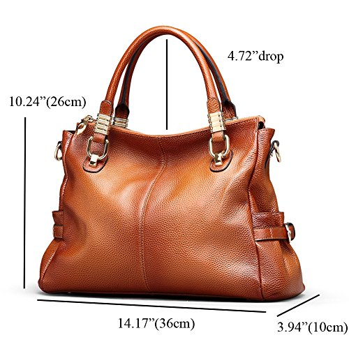 Tote Genuine Bag Brown Leather Kattee Womens Urban Style Satchel Handbag 50FxpxqCw