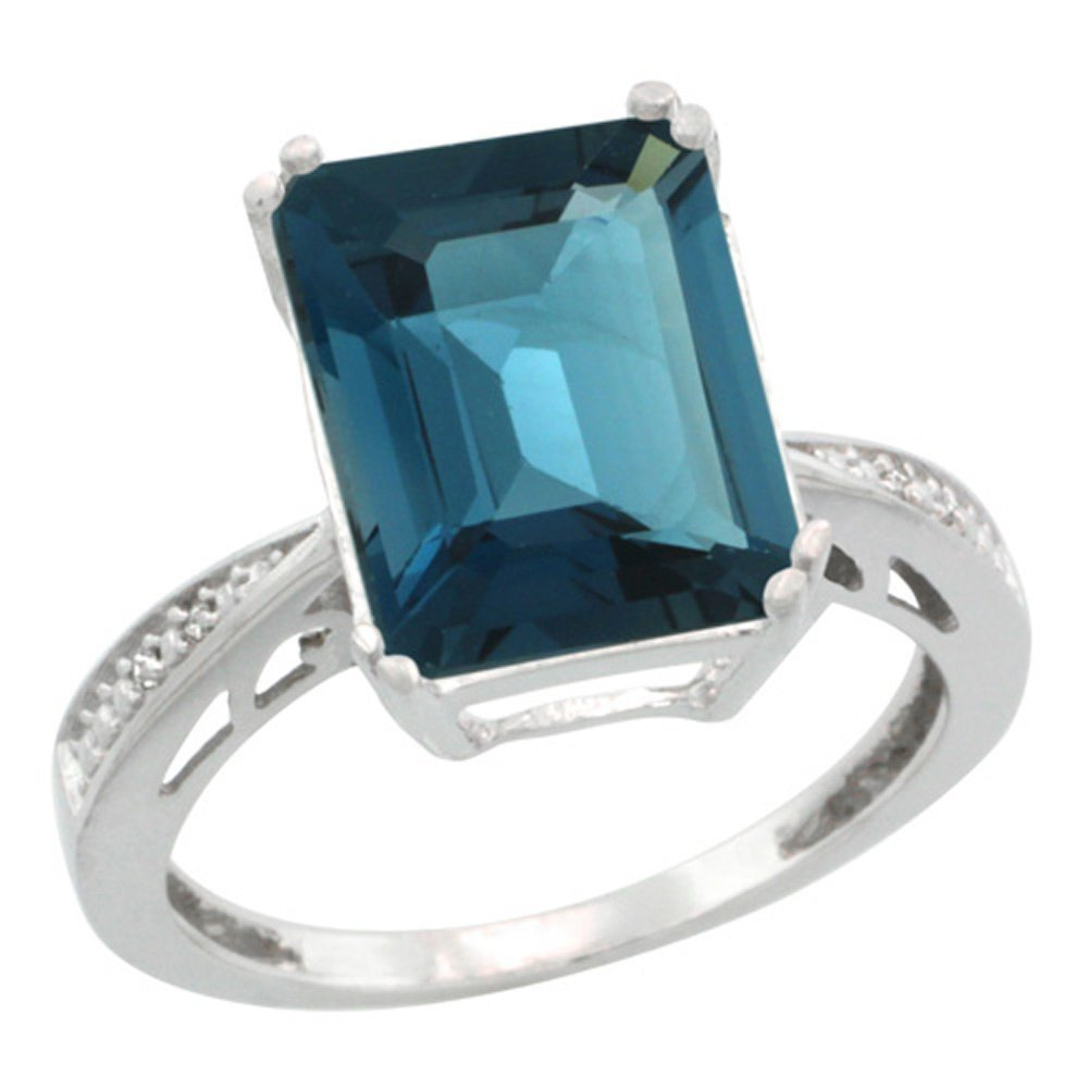 Sterling Silver Diamond Natural London Blue Topaz Ring Emerald-cut 12x10mm, 1/2 inch wide, size 10