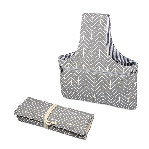 Knitting Purse Handles - Teamoy 2 Pack Canvas Knitting Tote Bag and Knitting Needles Roll Holder for Yarn, Knitting Needles(14 Inches), Supplies and More, Perfect Size for Knitting on The Go(Large, Arrows)