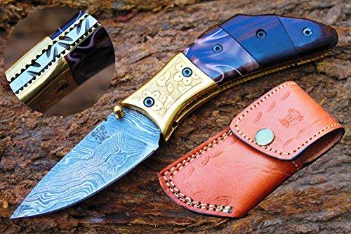 "3.0""Damascus Blade Custom made Folding Knife w/Engrave Brass Bolsters,Buffalo Horn,Kerinitie,File-Work & Sheath Cover UDK-A-D-F-04"