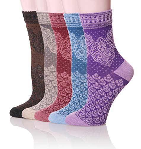 Velice Womens Cotton Vintage Style Crew Socks 5-pack (V-2)