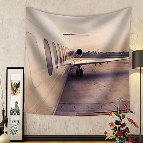 Gzhihine Custom tapestry Airplane Parked in Airport Waiting for Boarding Passengers - Fabric Wall Tapestry Home - Chicago Outlet Airport
