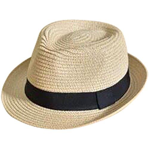 JOYEBUY Kids Girl Boy Foldable Summer Straw Hat Wide Brim Fedora Sun Beach Hat (Beige, S(Fit 2-6 Years)) ()