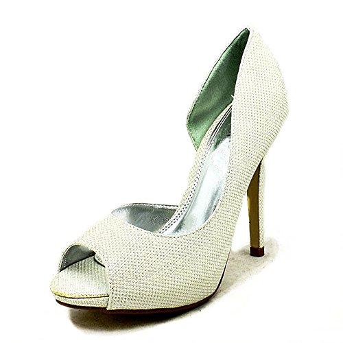 Ladies glitter covered high heel one sides party shoes ivory glitter fQgO5Z