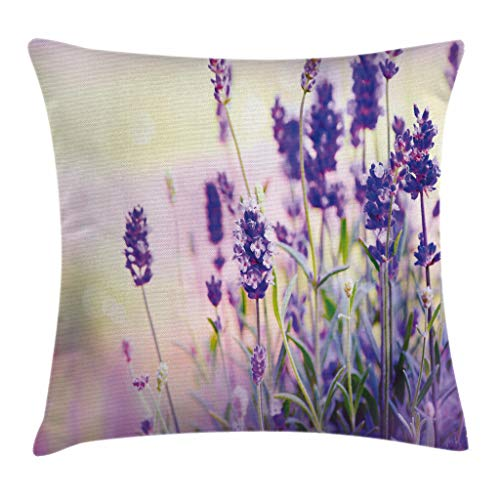 Ambesonne Lavender Throw Pillow Cushion Cover, Dreamlike Spring Day with Fresh Blossoms Aromatic Delicate Wild Flowers, Decorative Square Accent Pillow Case, 18 X 18 Inches, Lavender Lilac Green ()
