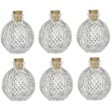 Nakpunar 6 pcs Spherical Crystal Cut Clear Glass Bottle with Cork, 4 oz - ball bottle, round bottle for oils, witch spells, wedding favors, bath bubbles