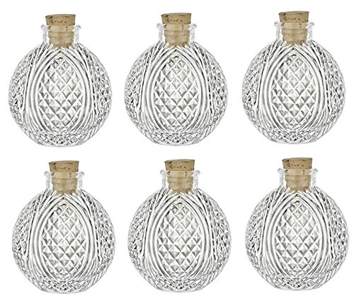 Nakpunar 6 pcs Spherical Crystal Cut Clear Glass Bottle with Cork, 4 oz - ball bottle, round bottle for oils, witch spells, wedding favors, bath (Round Bottle)
