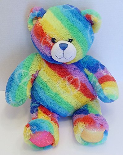 Build a Bear Rainbow Psychadelic Hippie Peace Sign Bear 15 Inches Tall