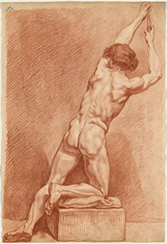 - Fine Art Print | A Male Nude Seen from Behind c.1760 | French 18th Century | Vintage Wall Decor Poster Reproduction | 08in x 12in