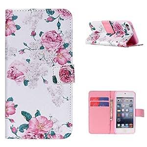 Para iPod Touch 5 , ivencase Flor Magnética Patrón Premium PU Cuero Stand and Ranuras Tarjetas Crédito Flip Billetera Funda Carcasa Tapa Case Cover Para iPod Touch 5 5th 5G GEN