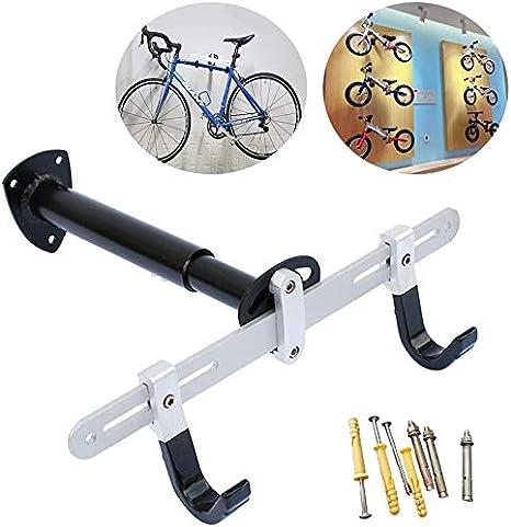 Elikliv Bicicleta Soporte de Pared, Horizontal Metal Ajustable Bicicleta Estante Soporte Gancho Para Bicicleta de Carretera, Montaña, Niños Bicicletas Interior Almacenaje: Amazon.es: Deportes y aire libre