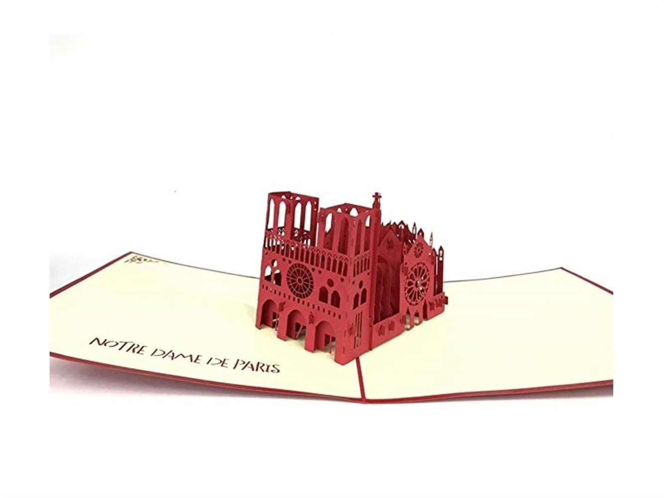 Famlon 3D Pop Up Three-Dimensional Greeting Card Notre Dame Gift Card Red