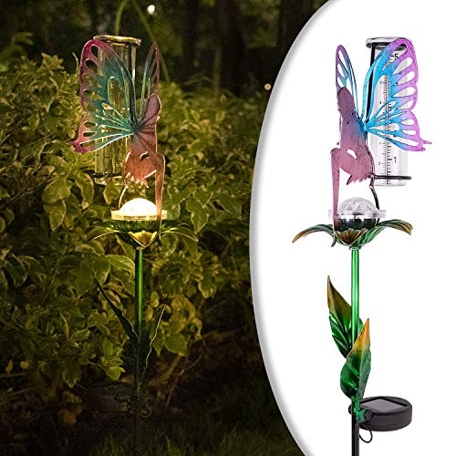 LeiDrail Rain Gauge Outdoor Solar Powered Garden LED Lights 5 Inch Capacity Fairy Decorative Metal Stake Waterproof Large Glass Large Tube for Yard Lawn Pathway