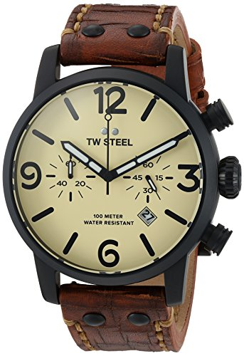 TW Steel Men's 'Maverick' Quartz Stainless and Leather Casual Watch, Color:Brown (Model: MS44)