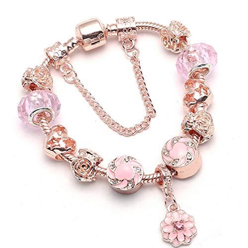 Lishfun New Heart & Key Pendant Rose Gold Color Fine Bracelets & Bangles Ferris Wheel Beads Charm Bracelet for Women Jewelry,012,16cm ()