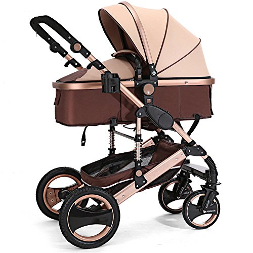 Aissimio Foldable Newborn Baby Stroller Buggy Pram Lightweight Pushchair Carriage Infant Travel Car Gold