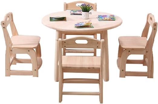 ZH Kids Mesa Redonda y Juego de 2/4 sillas, Mesa de Actividades de Madera Maciza para niños, Mesa de Comedor, Sala de Juegos para niños, Muebles de Madera Resistente, Madera Dura: Amazon.es: