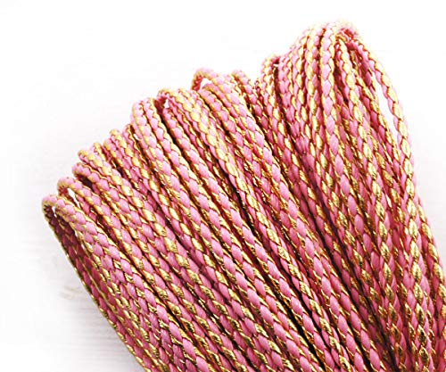 2yrd 1.8m Gold Pink Rose PU Faux Leather Cord Braided Leather Cord Faux Pu Decorative Beading String Twisted Rope Mala Bracelet Twine 3mm (Cord Gold Leather)
