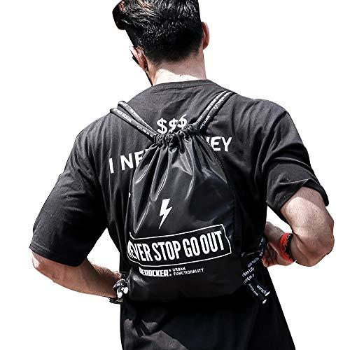Gym bag black drawstring backpack, sinch sack backpacks sackpack bag for men   For Gym Sports & Workout Gear   Large ()
