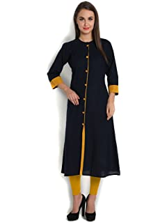 INDIBELLE Cotton slub Princess Cut Solid Kurta at amazon
