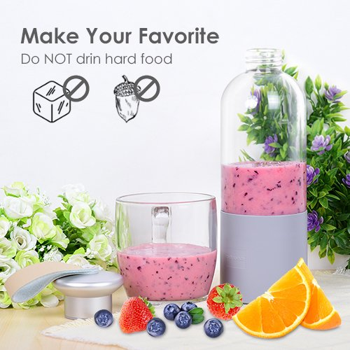 Portable Blender - Personal Blender with Powerful Motor, Travel Blender for Fruit Smoothies/Healthy Drinks/Baby Food/Shakes, Sealable Lid, Easy to Use & Clean - USB Rechargeable by ROCK SPACE (Image #6)