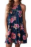 MITILLY Women's Halter Neck Boho Floral Print Chiffon Casual Sleeveless Short Dress Large Dark Blue