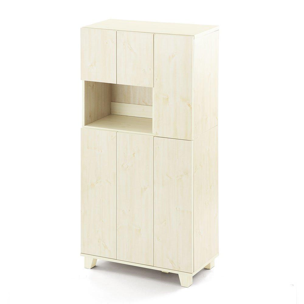 シューズボックス スリム 約23足 収納 幅75×高さ151×奥行37cm 木製 扉付き 靴箱 下駄箱 ホワイト B07FD243G3 ホワイト ホワイト