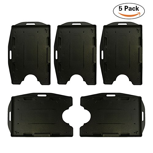 Tt Holder (Open Face Two Cards ID Badge Holder 2-Sided Rigid Plastic, Black Color Vertical and Horizontal Direction (5 pack))