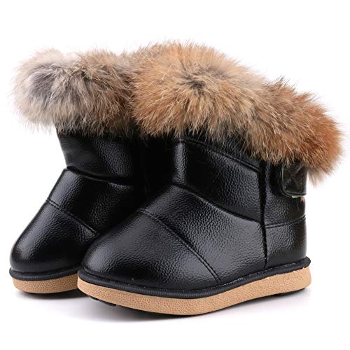 Femizee Toddler Girls Fully Fur Lined Waterproof Winter Snow Boots,Black 1934 CN26