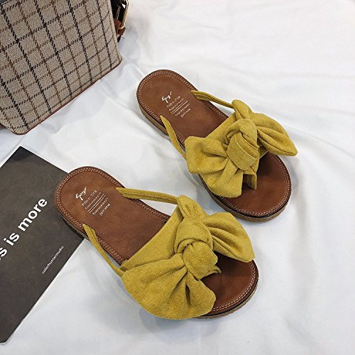 donna New donne Fashion giallo sandali ITTXTTI estate infradito Bow Wild Wear spiaggia Flat da sandali in 39 SwqEfqRTA