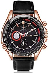 Men's Fashion Japanese Analog Quartz Wrist Watch with Black Dial Leather Strap