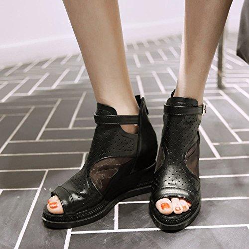 Mee Shoes Damen modern bequem Reißverschluss Invisible Heel amtungsaktiv Peep toe Mesh Pumps Schwarz