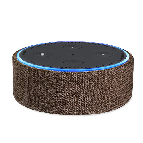 Price comparison product image Protective Fabric Case Cover for 2nd Generation of Echo Dot; Protect and Accessorize Alexa in Gorgeous Fabric Covers by Wasserstein (Brown)